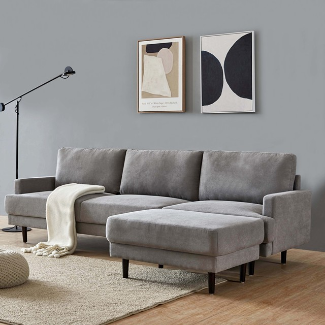 L Shape 3 Seater Couch w/ Ottoman 2