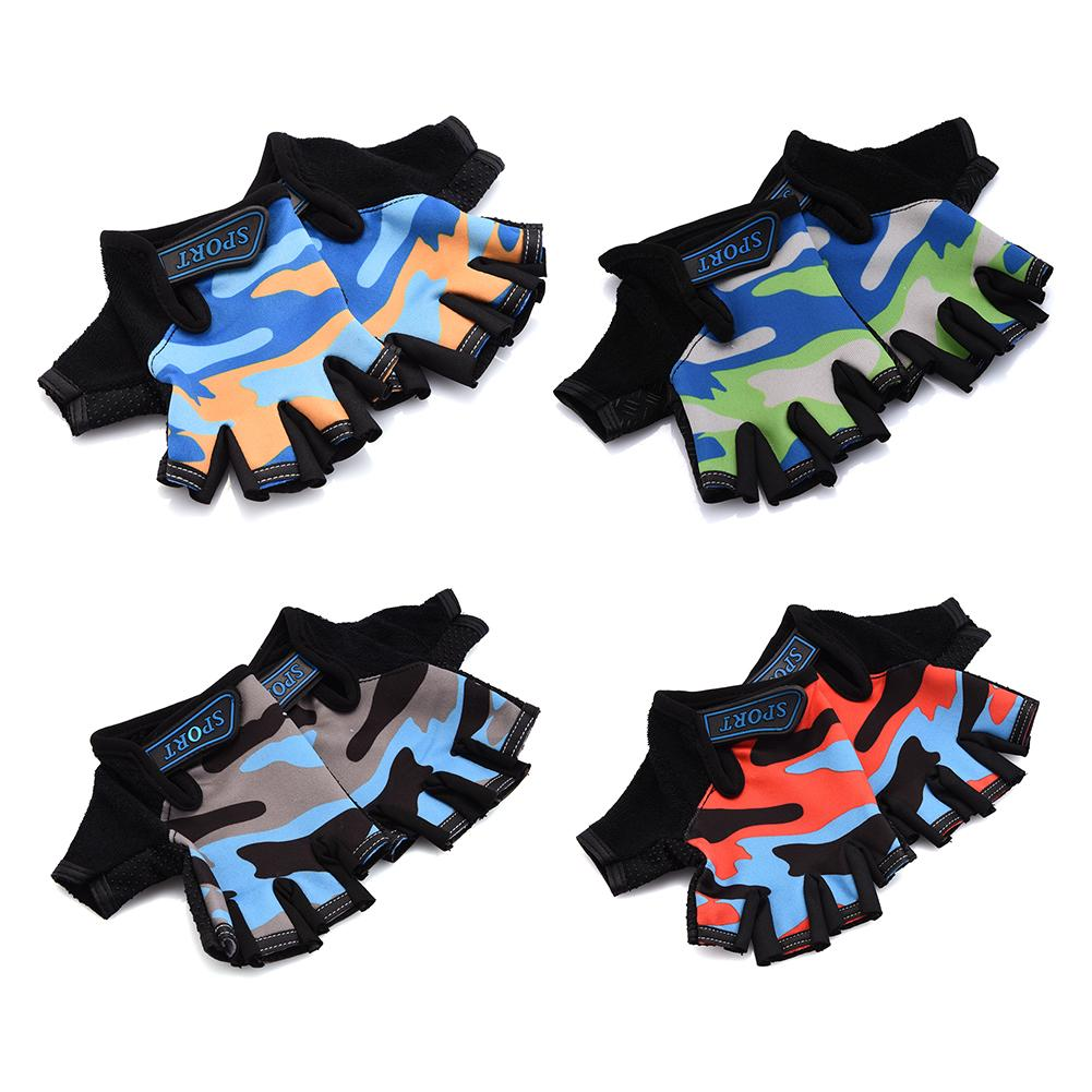 Children Cycling Half Finger Bicycle Gloves High Elastic Non-slip Child Kid Bike Gloves Riding Outdoor Camouflage Equipment