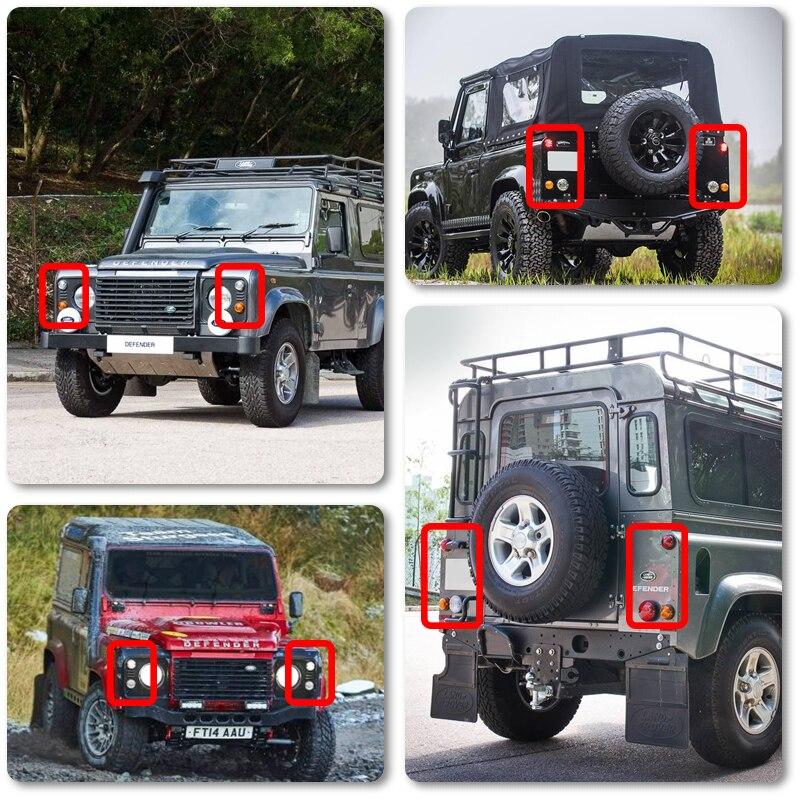 10PCs-Kit-Smoke-Lens-Complete-Led-Lamp-Upgrade-Kit-For-Land-Rover-Defender-1990-2016-Front
