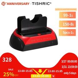 Tishric IDE SATA Dual Semua Dalam 1 HD/HDD Dock/Docking Stasiun Hard Disk/Drive HDD 2.5 3.5 Reader USB Uni Eropa Kotak Eksternal Kandang Case