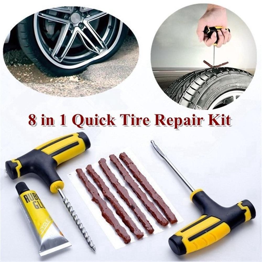 1 Set Car Motorcycle Tire Repair Kit Tire Plug Tubeless Tyre Puncture Repair Kit Strip Glue Tool Car/Motorcycle Accessories