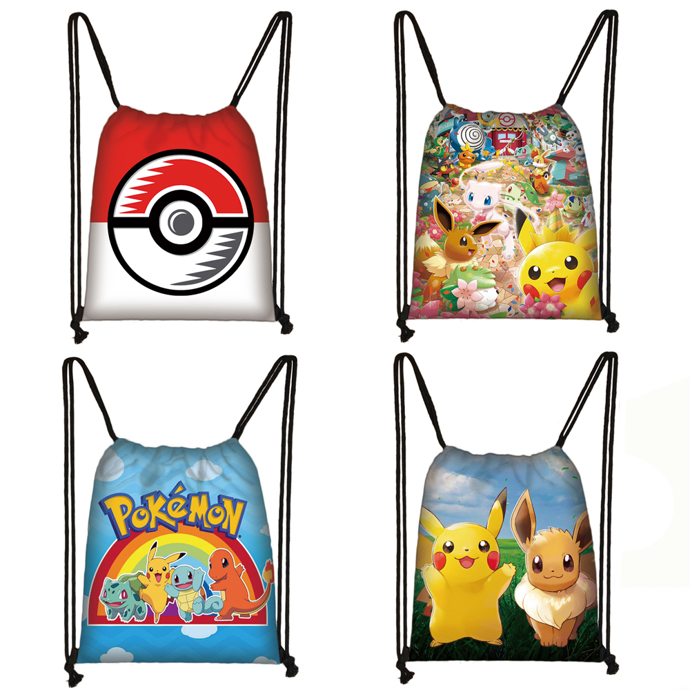 Cartoon Pokemon Print Drawstring Bag Pikachu Poke Ball Backpack Teenager Boys Girls Storage Bags Kids Canvas Travel Bag Bookbag