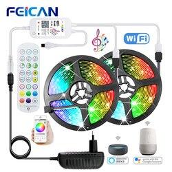 Светодиодная лента Wifi / BLE/ IR управление музыкальной синхронизацией 12В RGB подсветка Водонепроницаемая 5 м 10 м 15 м 20 м работает с Alexa (опциональн...