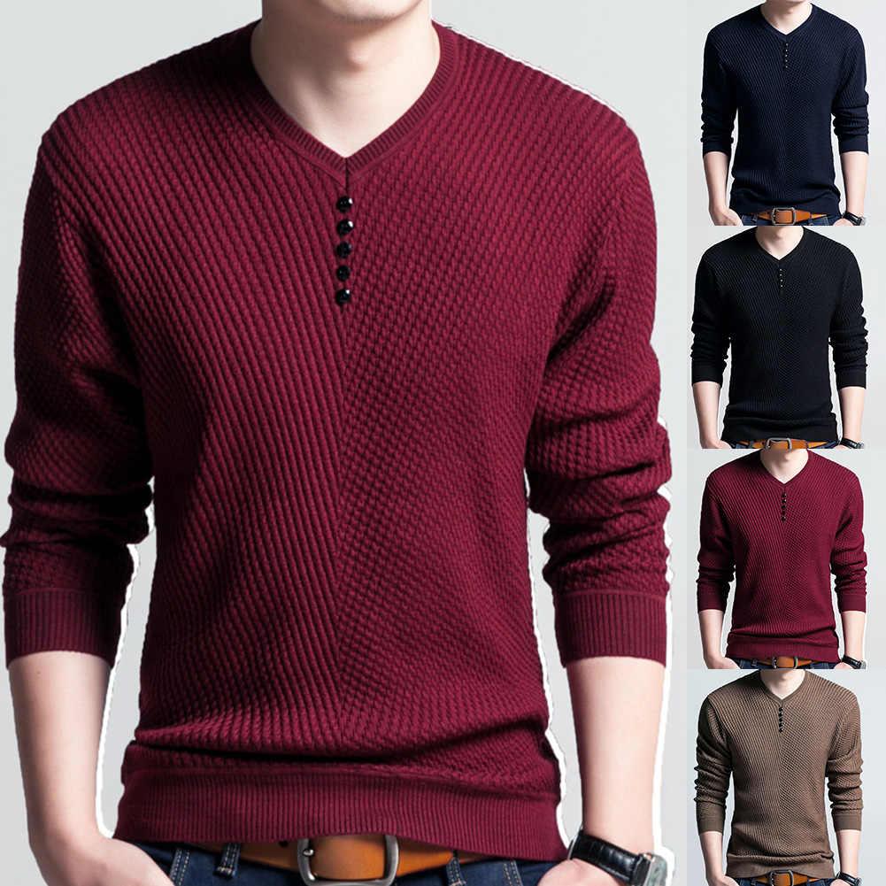 세련 된 가을 겨울 스웨터 남자 솔리드 컬러 V 넥 긴 소매 2019 풀 오버 니트 당겨 스웨터 망 스웨터 남성 니트웨어