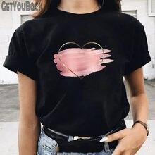 Camiseta negra con estampado romántico para mujer, Tops Harajuku de los años 90, ropa de I am Storm para mujer, envío directo