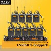Tüketici Elektroniği'ten Mikrofonlar'de EM2050 Kulak Kablosuz Sistem SR2050 Çift verici Izleme 9 bodypack için Profesyonel stüdyo Sahne Performansı