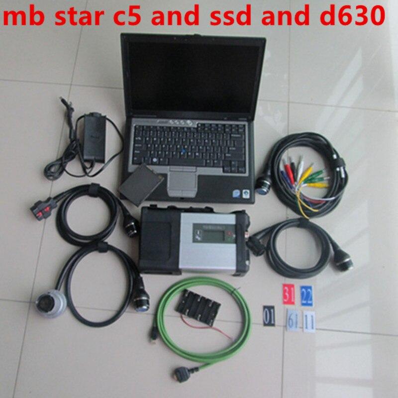 MB gwiazda c5 v33.2020 oprogramowanie HHT DTS w SSD używane komputery Laptop D630 SD 5 samochód i ciężarówka narzędzie diagnostyczne obd dla Mercedes