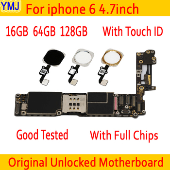Материнская плата для iPhone 6, с распознаванием и без распознавания отпечатку пальца, логические платы, 16 ГБ, 64 ГБ, 128 ГБ, 100% оригинал, разблокиро...