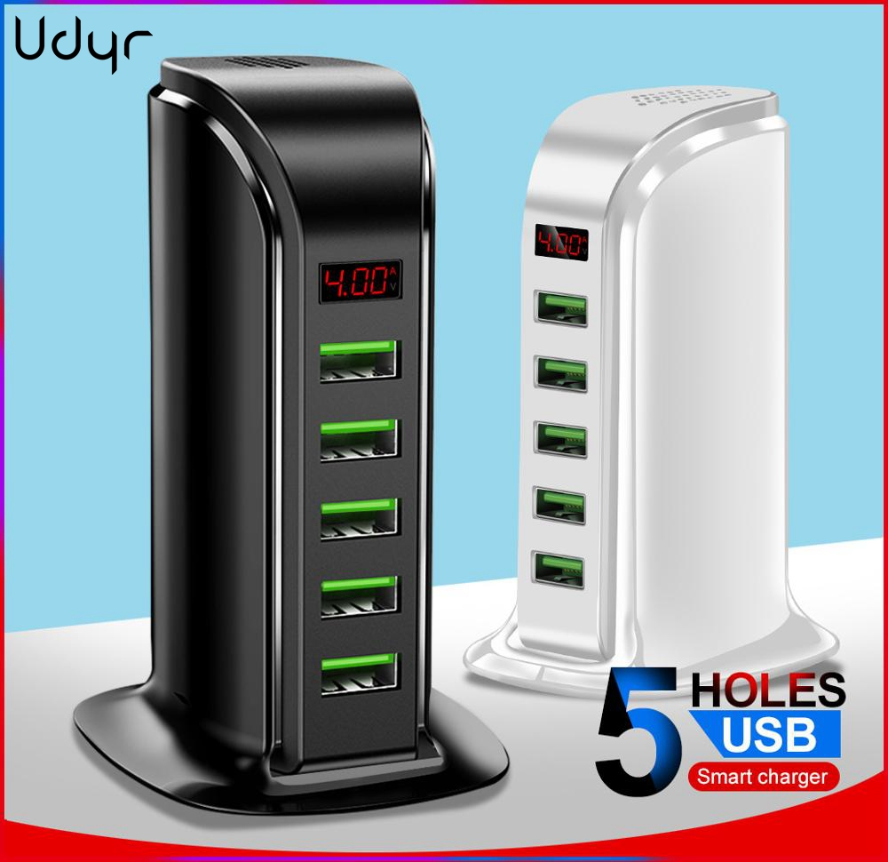 Udyr 5 Port USB Charger HUB LED Display Multi USB Charging Station Dock Universal Mobile Phone Desktop Wall Home Chargers EU US