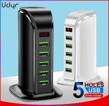 Udyr 5 Port USB Charger HUB LED Display Multi USB Charging Station Dock Universal Mobile Phone Desktop Wall Home Chargers EU US