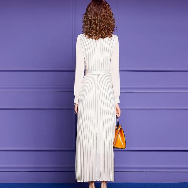 Fashion Dress Spring Women Dress V-neck Split Long Sleeve Beaded Belt Pleated Long Dresses Blue White 6