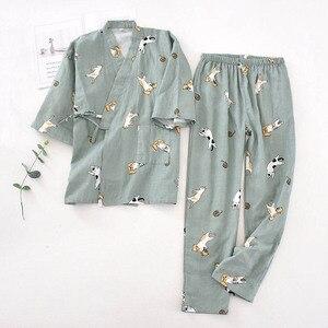 Image 4 - Ladies Spring And Fall New Pyjamas Set Cute Cartoon Kitten Printed Women Comfort Gauze Cotton Sleepwear Soft Thin Home wear