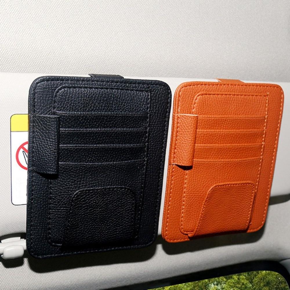 Car Sun Visor Organizer Holder Multi-function Glasses Card Clip Leather Holder Universal Car Auto Card Clip Pouch Bag Orange