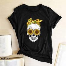 Hillbilly Funny Skull Punk T Shirt Women Fashion Casual Short Sleeve Sun Flowers