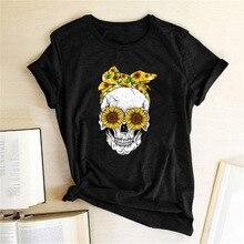 Hillbilly Funny Skull Punk T Shirt Women Fashion Casual Short Sleeve Sun Flowers Tshirts Chemise Femme Tops Mujer Verano 2019