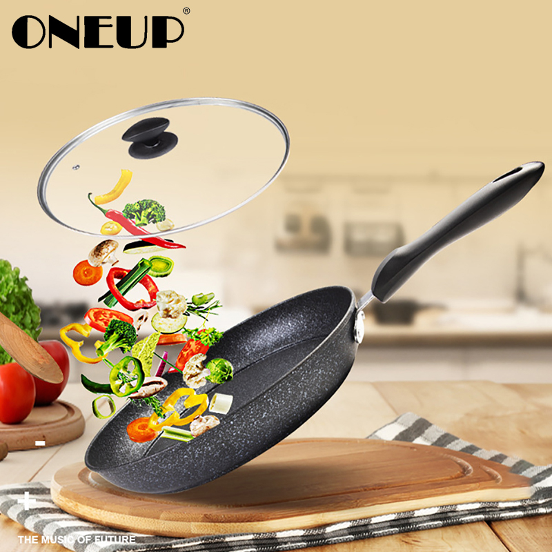 ONEUP 28/30cm Frying Pan Use For Gas & Induction NonStick Coating 6 Layers Bottom No Oil-smoke Breakfast Grill Pan Cooking Pot