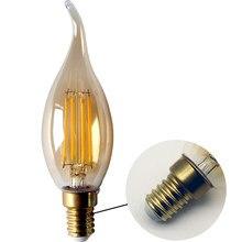 6 unids/lote bombilla de filamento C35 cola 4W Retro Edison bombilla E14 B22 Bombillas de 220V-240V lámpara Vintage 2700K 4000K de la decoración del hogar