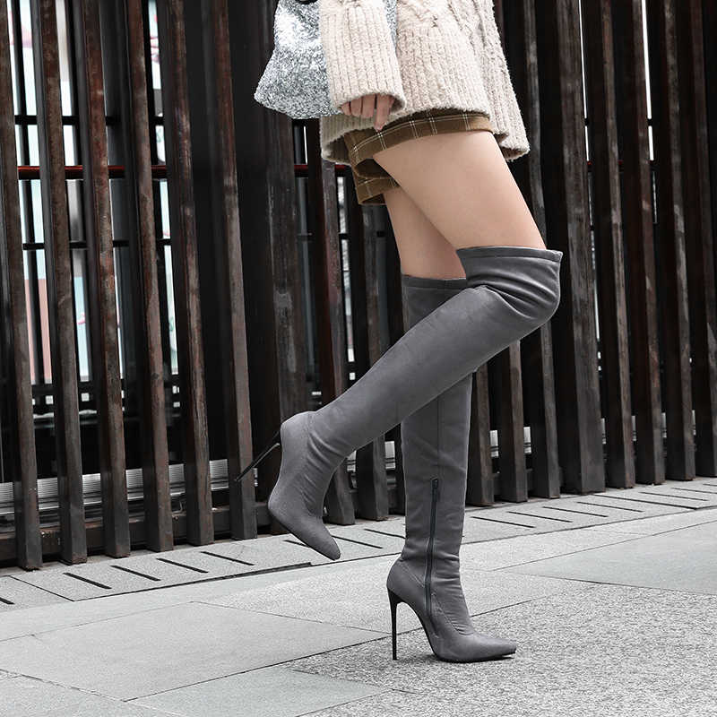 12 Cm Cao Cấp Over-The-Đầu Gối Giày Lớn Giày Bốt Size 40-43 44 4546 47 48 Lớn Dài Giày Bốt Nữ