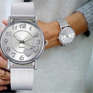 Fashion Women Watches Ladies Watch Silver Heart Dial Silicone Mesh Belt Wrist Watch Reloj Mujer Montre Femme Women's Watch 2020