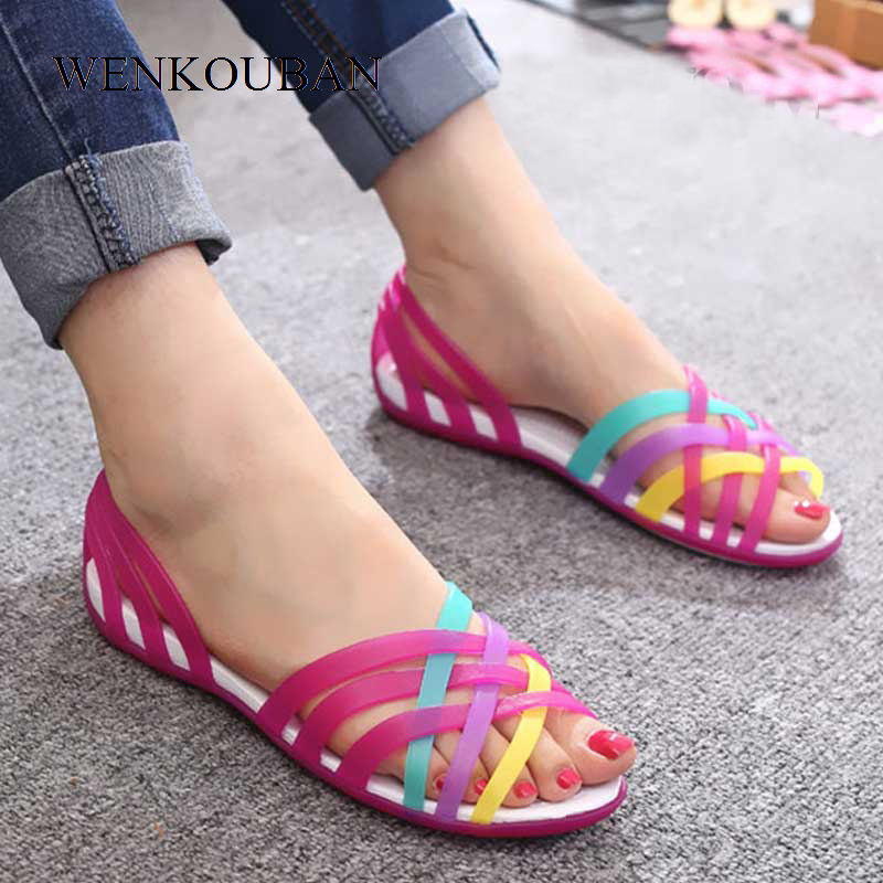 Summer Sandals Women Jelly Shoes Female Flat Shoes Ladies Slip On Woman Candy Color Peep Toe Women's Beach Shoes Sandalias Mujer