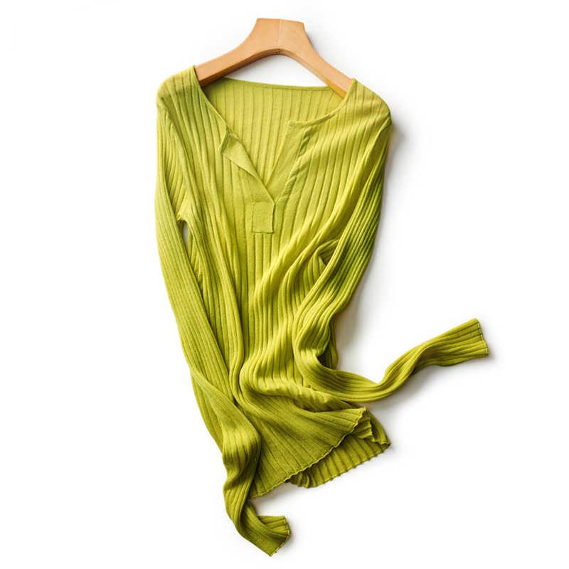 2020 Musim Semi Wanita Fashion O Leher Kerah Lengan Panjang Setengah Terbuka Kemeja Warna Murni Musim Panas Fashion Pakaian