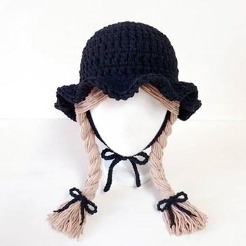 1-5 Yrs Girls Hat Kids Hand Knitted Caps With Braids Children Autumn Winter Fashion Wigs Hat Plaits Wig Bonnet Photo Accessories - Black, 48-52 cm