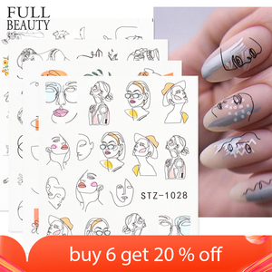 Abstract Lady Face Nail Decals Water Black Leaf Sliders Paper Nail Art Decor Gel Polish Sticker Manicure Foils CHSTZ1018-1033