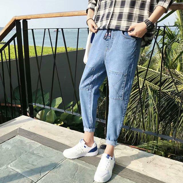Aberdeen Jeans Men Summer Thin Section Loose-Fit 9 Capri Pants Sub-Light Color Elastic Waist Slim Fit Pants Korean-style Fashion