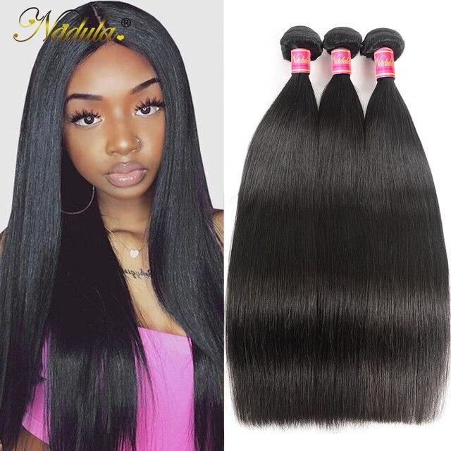 Nadula Hair mechones de cabello lacio indio de 8 30 pulgadas, mechones de cabello humano Remy, máquina de mechones de postizo de doble trama, 3/4 mechones