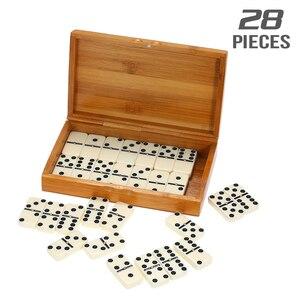 Image 2 - ダブル 6 ドミノセットエンターテイメントレクリエーション旅行ゲームブロック木造建築学習教育玩具ドットドミノ