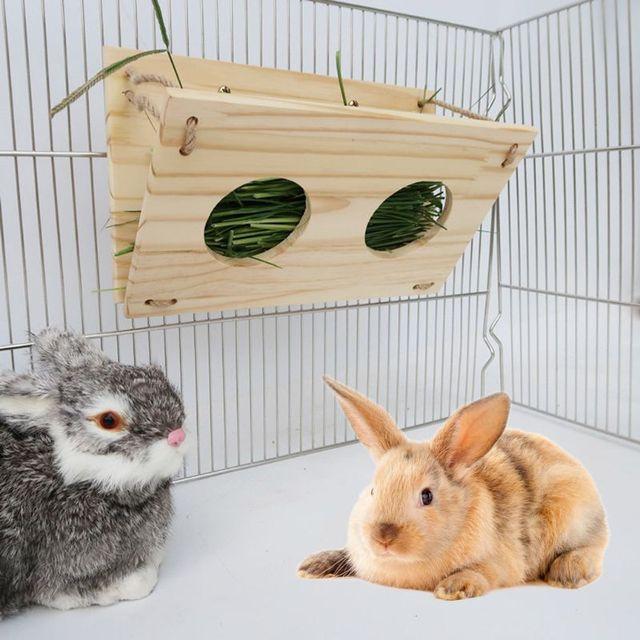 Wooden Rabbit Hay Feeder Hay Manger Rack Holder Hamster Food Dispenser for Guinea Pig Bunny Chinchilla 4