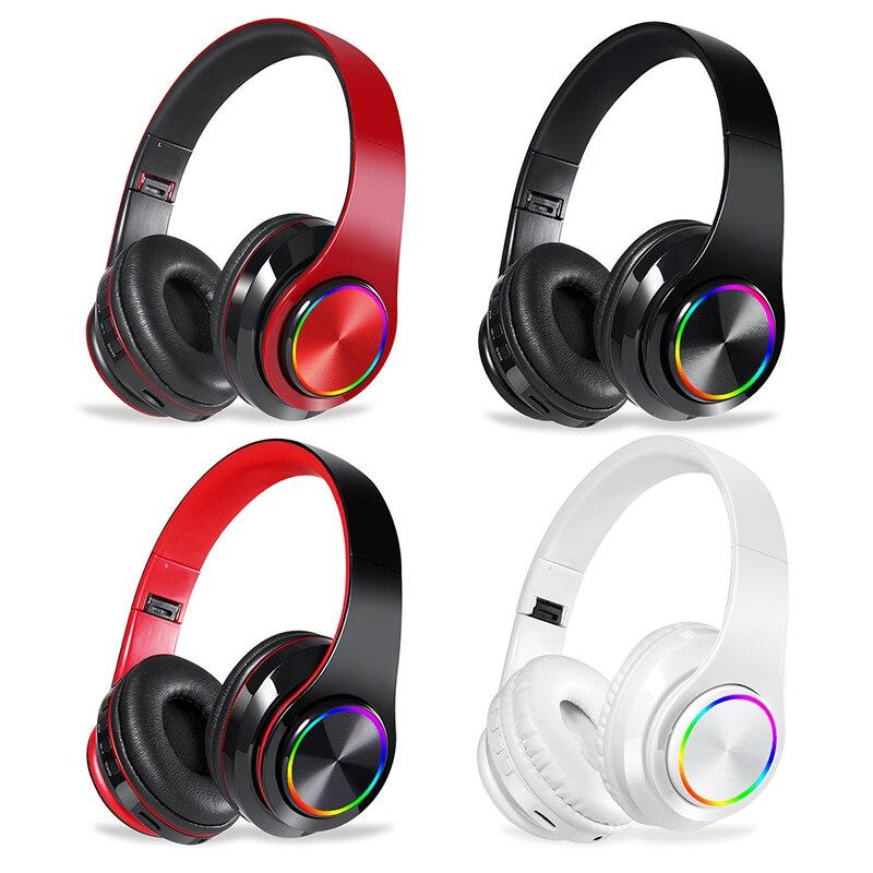Auriculares estéreo plegables Bluetooth, auriculares inalámbricos con micrófono para videojuegos, auriculares para PC, teléfono y Mp3, 4 colores|Auriculares y audífonos| - AliExpress