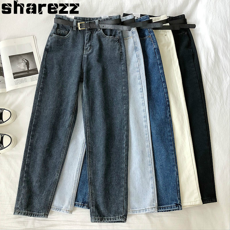 2020 Spring High Waist  Jeans For Women Fashion Harem Pants Ankle-Length Stretch Black Mon Jeans Woman With Belt Streetwear