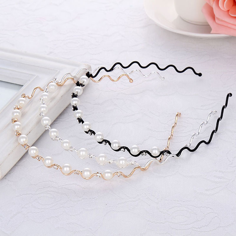 Women Girls Pearl Crystal Wave Headband For Women Elegant Headband Hair Hoop Head Wear Hair Style Tools Accessories