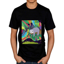 Sloth In Nature Graphic Novelty Funny T Shirt Men 100% Cotto