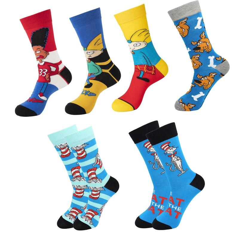 BG527 1 пара новых детских носков из хлопка Для мужчин Для женщин Для мужчин нескользящих носочков с изображением забавных милых Новинка Мульт...