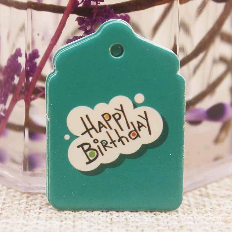 Feiluan 3.3*2.4cm 1000 pièces mignon divers styles joyeux anniversaire cadeaux étiquette volante rose/orange/jaune/vert/bleu