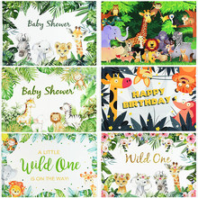 126x80cm Jungle Forest Wild Animal Party Decor Vinyl Photography Backgrounds Newborn Baby Shower 1st Birthday Party Decoration