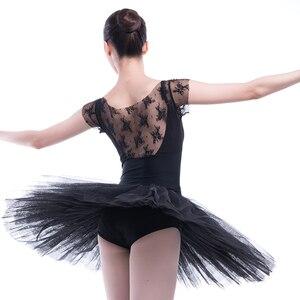 Image 5 - Professional Ballet Swan Lake Tutu White Black Elastic Waist Adults Ballerina 5 Layers Hard Mesh Tulle Skirt Tutus With Briefs