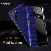 Echt Lederen Case Voor Huawei P30/P30 Pro Vpower Smart View Window Crocodile Graan Flip Lederen Cases Voor Huawei p30/P30 Pro