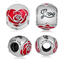 Rose Beads 100% 925 Sterling Silver Belle Enchanted Love Charm for Jewelry Making Fit Charms Bracelets free shipping YK045