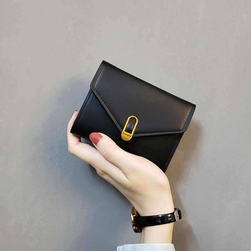 2019 New Leather Purse Fashion Tri-fold Women Wallets Simple Black Short Wallet High Quality Soft Purse Leather Small Coin Pocke