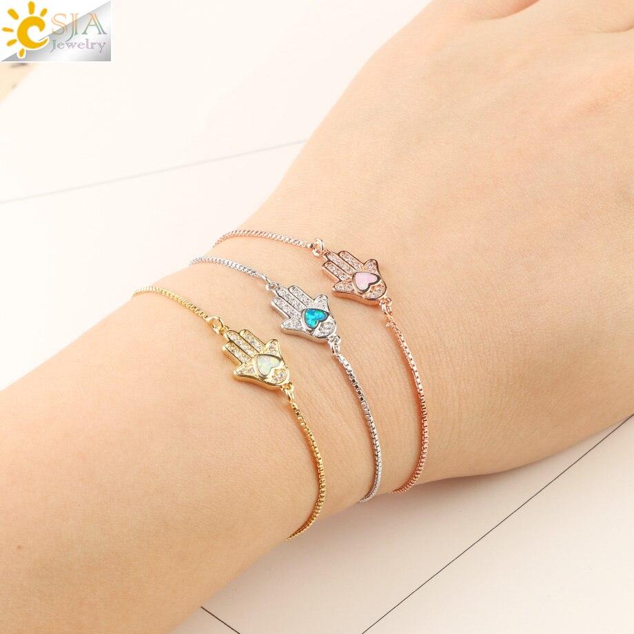 CSJA Religious Style Fatima Hand Charm Bracelet Heart Opal Pave  Zircon Chain Bracelets for Women Men Amulet Fashion Jewelry G105Chain