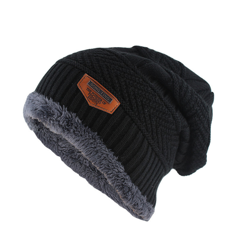 Helisopus 2020 New Men's Winter Knit Hat Woolen Velvet Thick Warm Cap Outdoor Soft Beanies 6 Colors Men's Gift