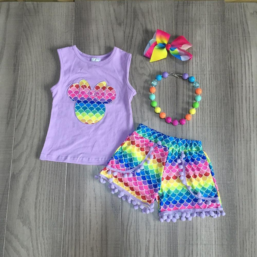 Baby Girls Summer Clothes Girls Lavender Shirts Wave Shorts Girl Rainbow Outfits With Accessories