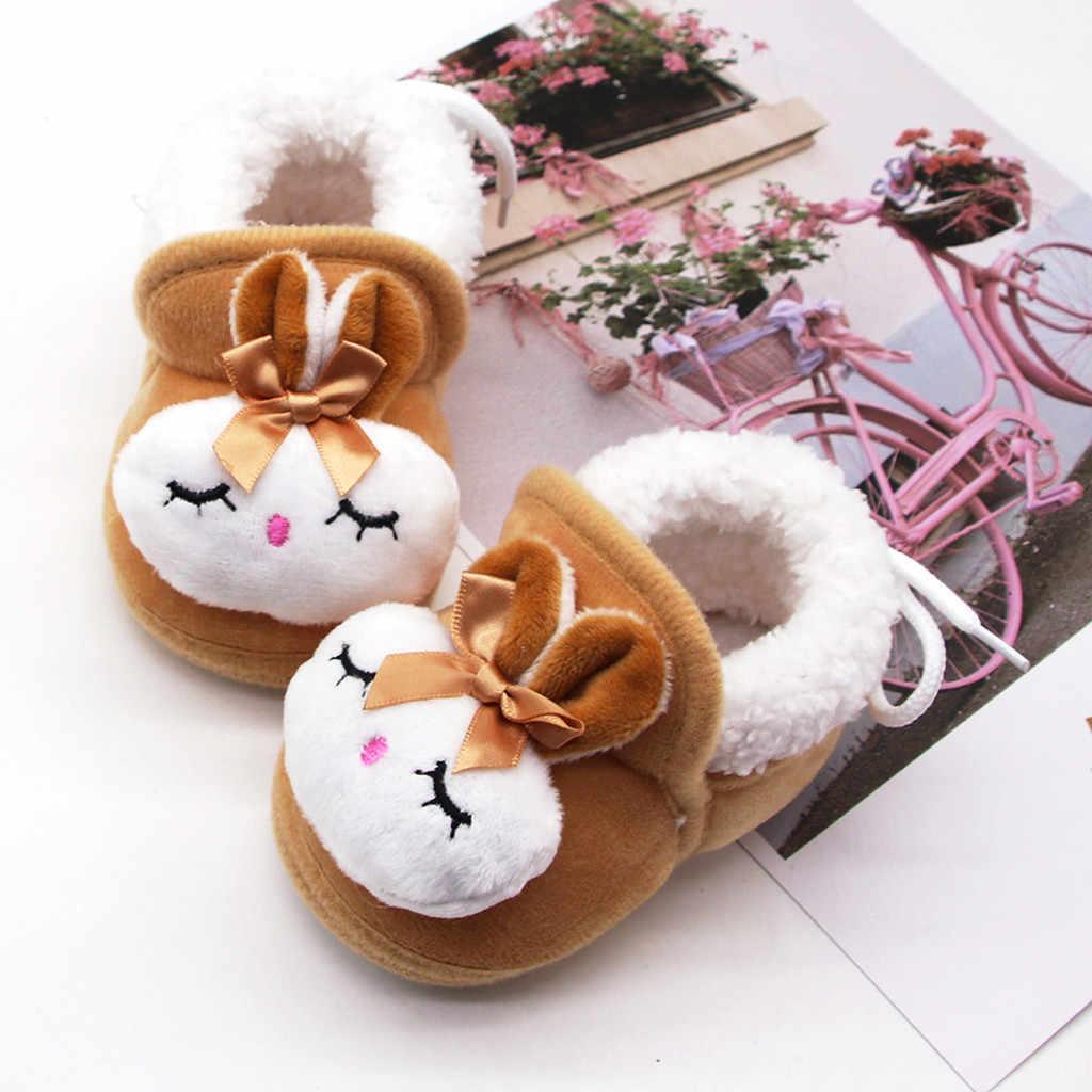 Kış pamuk sıcak bebek ayakkabıları karikatür tavşan yay dantel kürklü peluş bebek bebek ayakkabıları çocuk kız erkek kış kız bayan botları