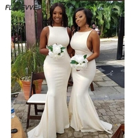 In Stock Sexy Mermaid Bridesmaid Dresses Ivory Long Cheap Bridesmaid Dress Sleeveless for Wedding Party