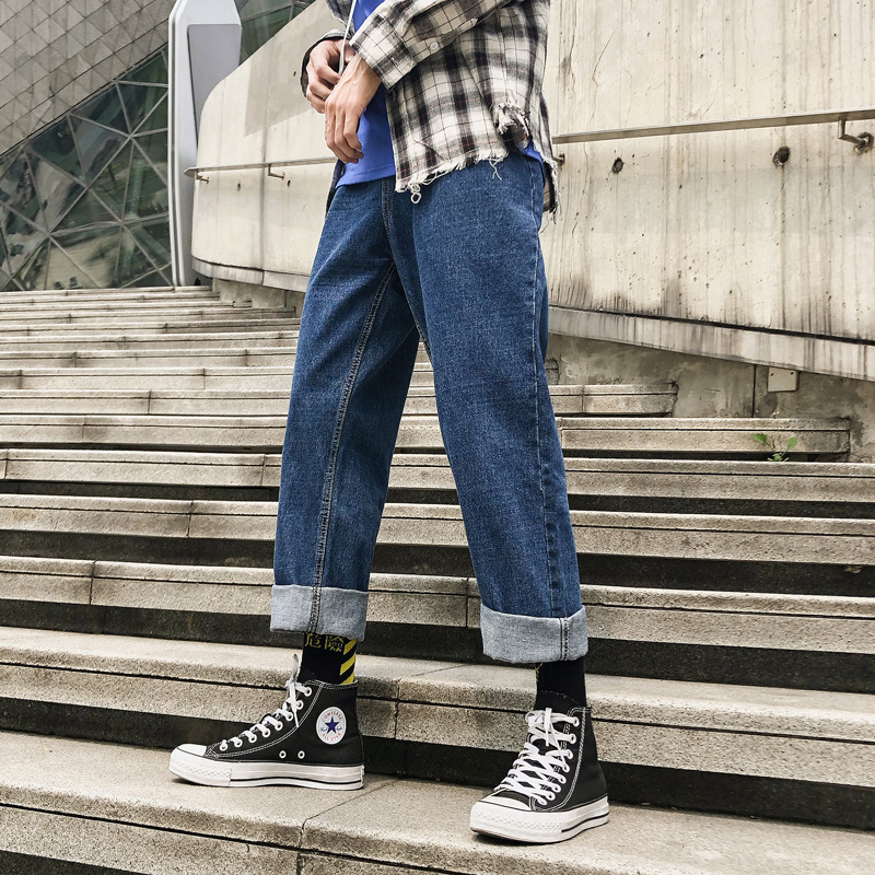 2019 Spring And Summer New Style Korean-style INS Hong Kong Style Dad Pants Jeans Capri Pants Loose Straight Popular Brand Japan