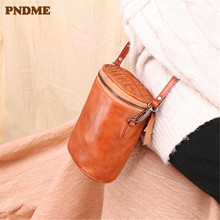 PNDME fashion retro designer genuine leather ladies messenger bags high quality luxury simple cowhide women cross shoulder bag стоимость