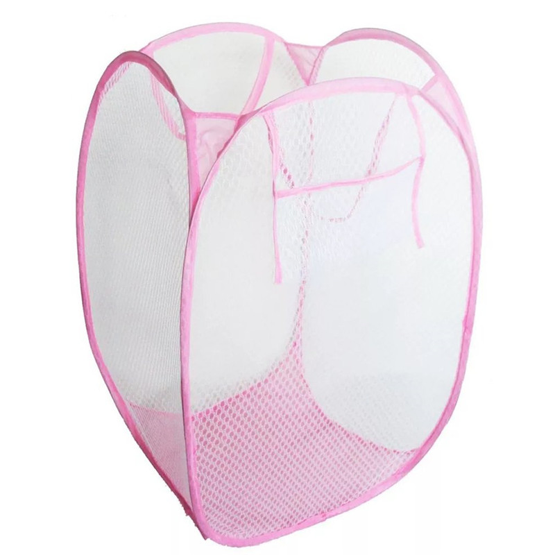 Creative Foldable Pop Up Washing Laundry Basket Bag Hamper Nylon Mesh Kids Toys Organizer Clothes Storage Basket